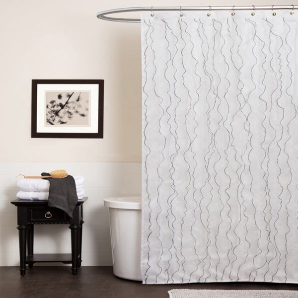 Lush Decor Romana White Shower Curtain