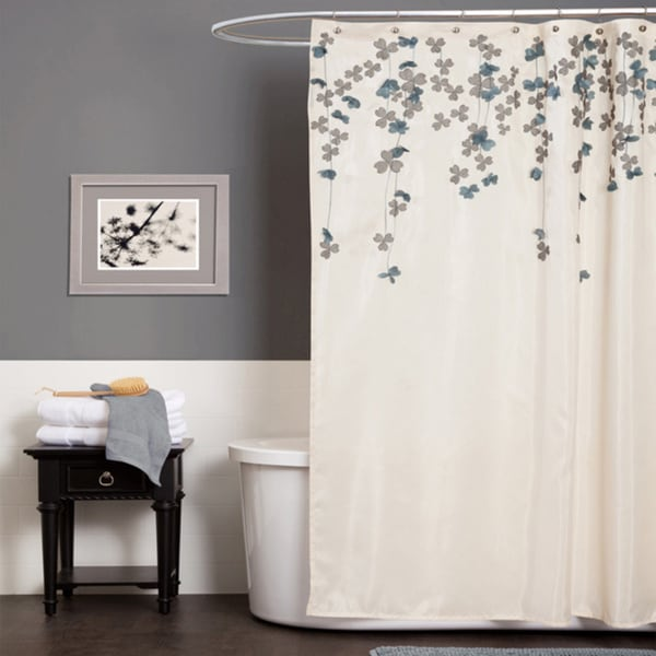Shop Lush Decor Flower Drop Ivory / Blue Shower Curtain
