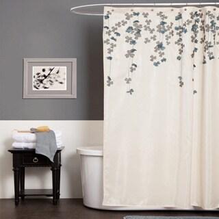 Lush Decor Flower Drop Ivory / Blue Shower Curtain
