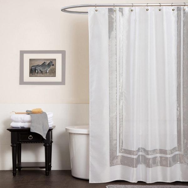 Lush Decor Jewel White Shower Curtain