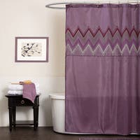Lush Decor Myra Plum Chevron Shower Curtain