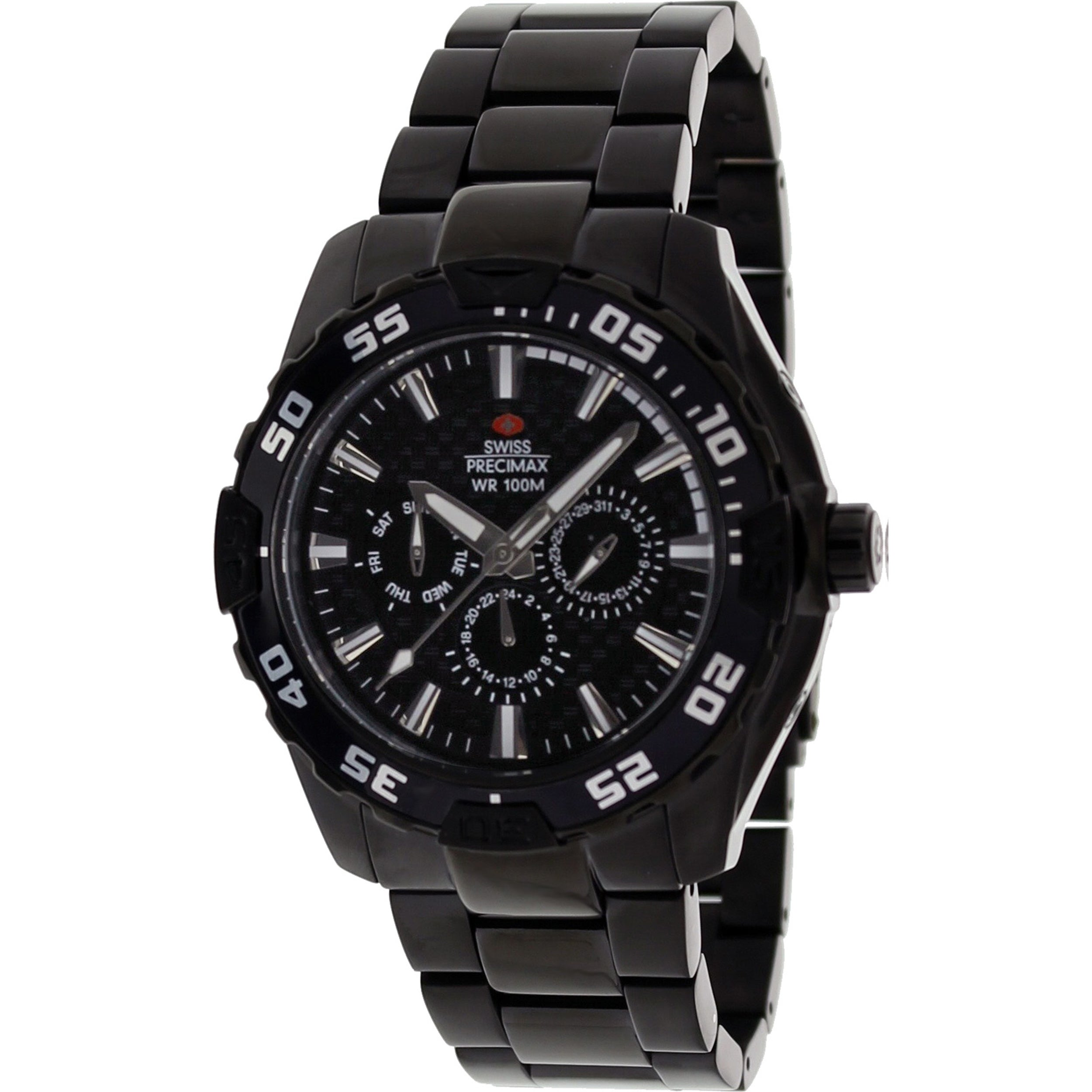 Swiss Precimax Men's Formula 7 XT Black Stainless Steel Watch with Black Dial