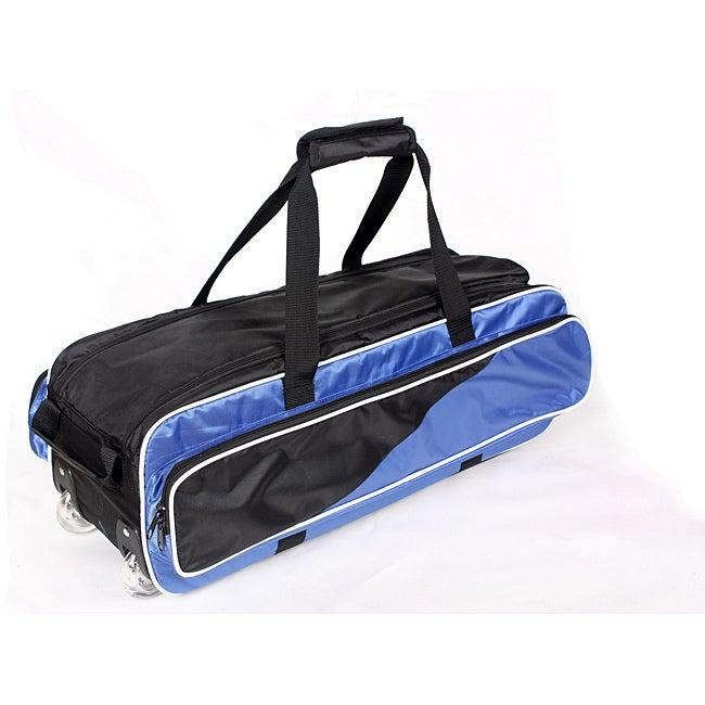 TNT Unisex Black and Blue Nylon Three-ball Rolling Bowling Bag