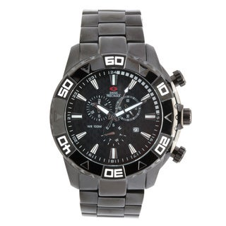Swiss Precimax Men's Oversized Black Valor Elite Stainless Steel Watch