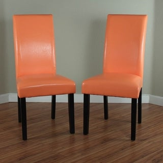 Villa Faux Leather Sunrise Orange Dining Chairs (Set of 2)