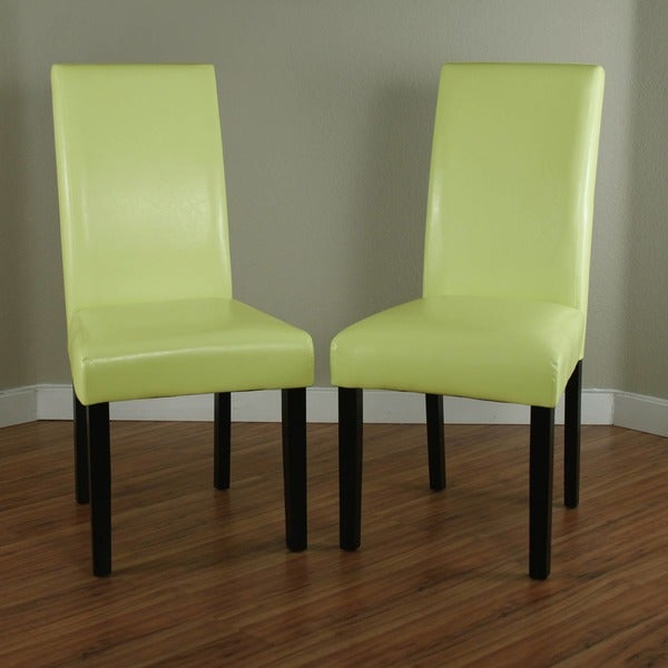 Villa Faux Leather Wax Green Dining Chairs Set Of 2