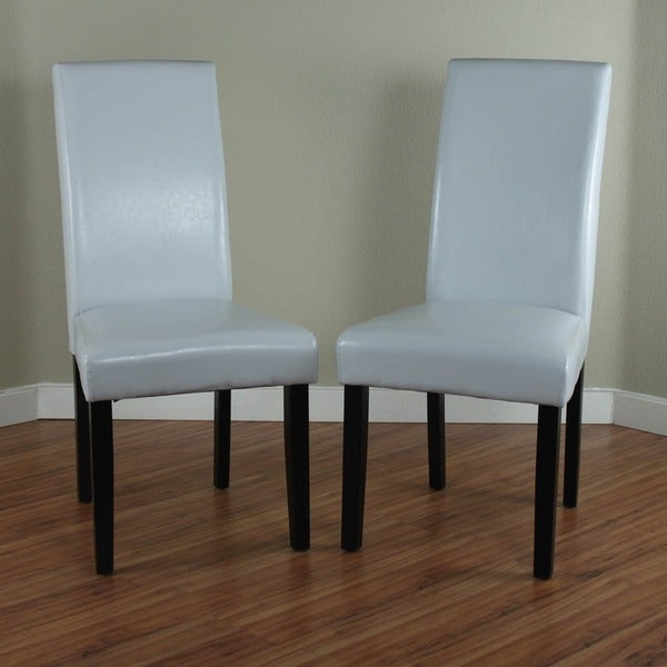 villa faux leather cloud grey dining chairs set of 2 free shipping