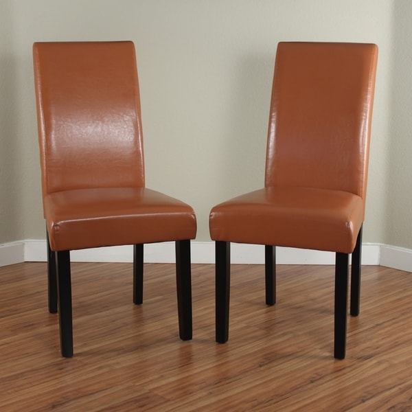 Villa Worn Brown Faux Leather Dining Chairs Set Of 2