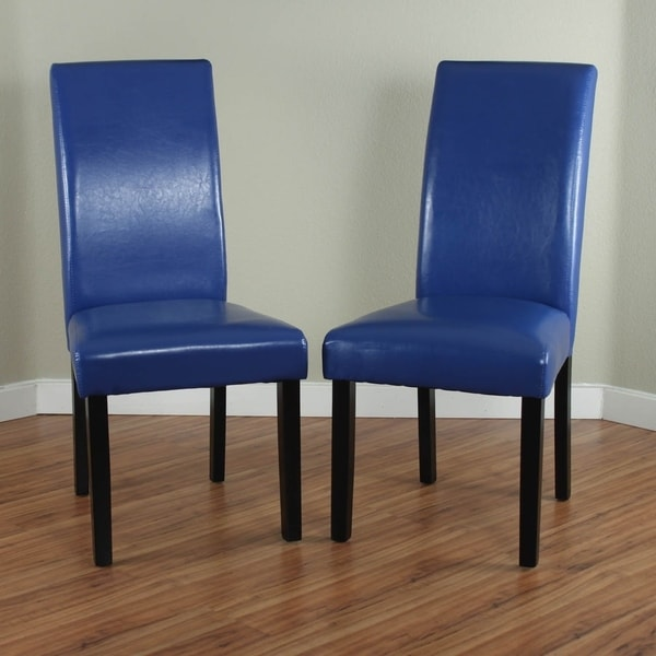 Shop Villa Faux Leather Blue Dining Chairs (Set Of 2