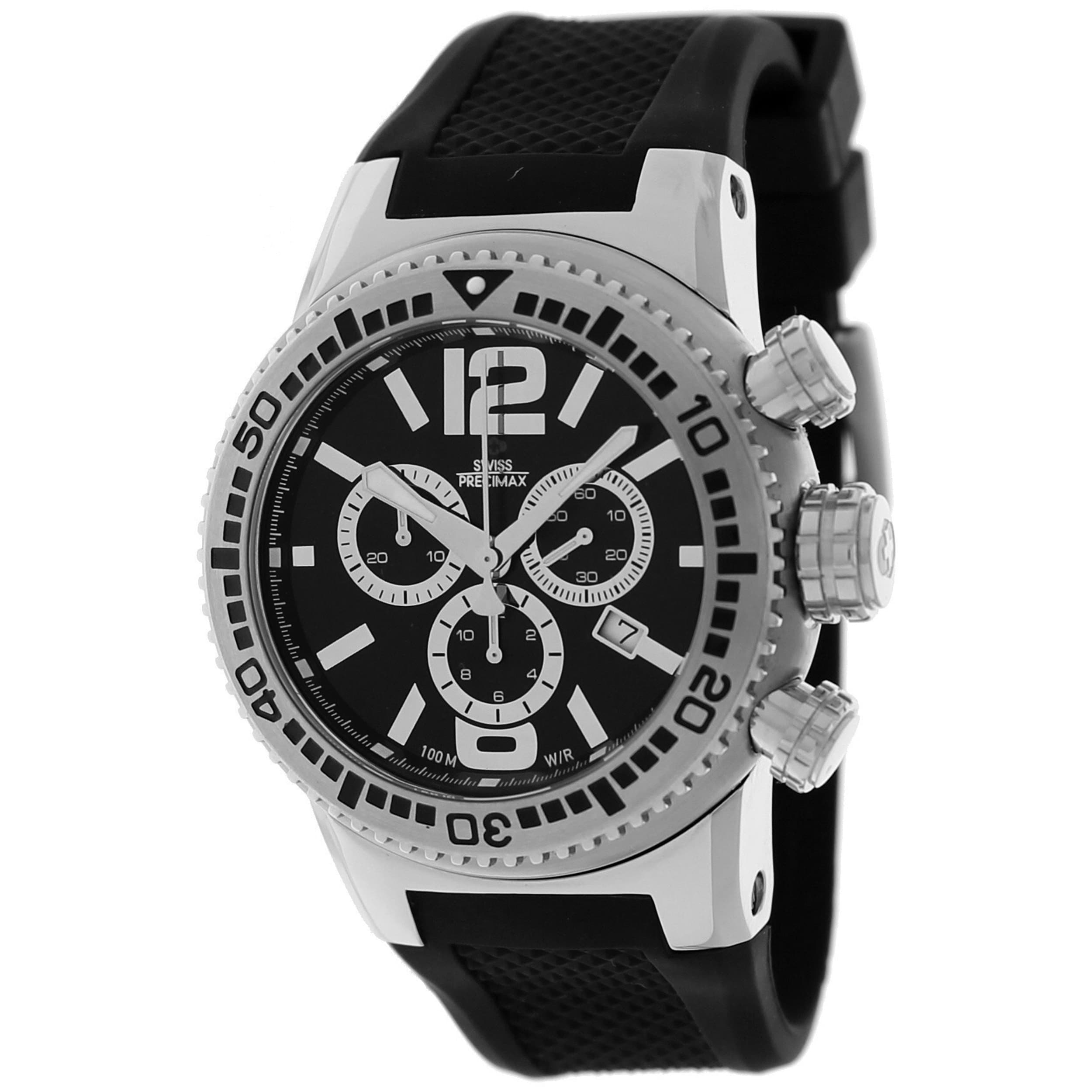 Swiss Precimax Men's Titan Elite Black-Dial Silicone Watch