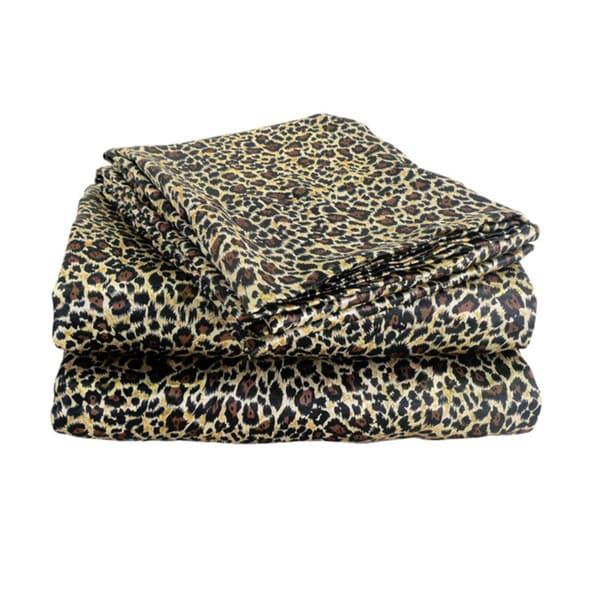 Charmeuse Satin Leopard Print Sheet Set and Pillowcase Separates