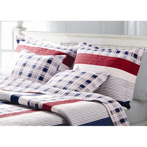 Greenland Home Fashions Nautical Stripes Quilted Sham Set - Multi