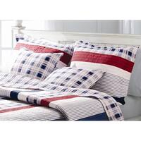 Greenland Home Fashions Nautical Stripes Quilted Sham Set