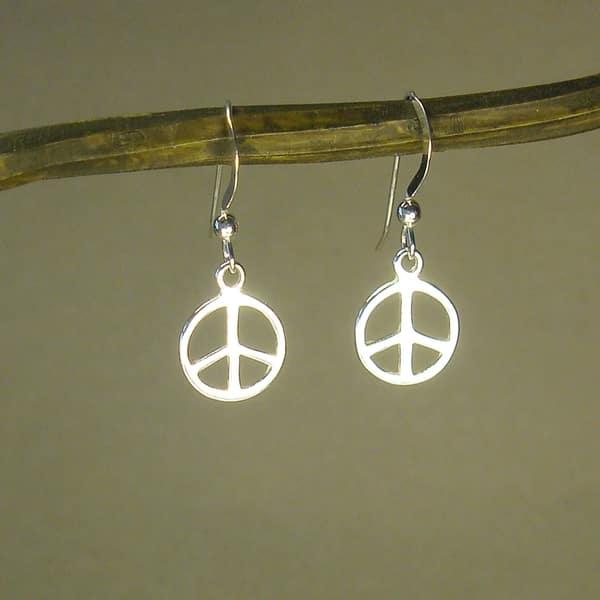 SALE Peace signs silver handmade dainty drops earrings