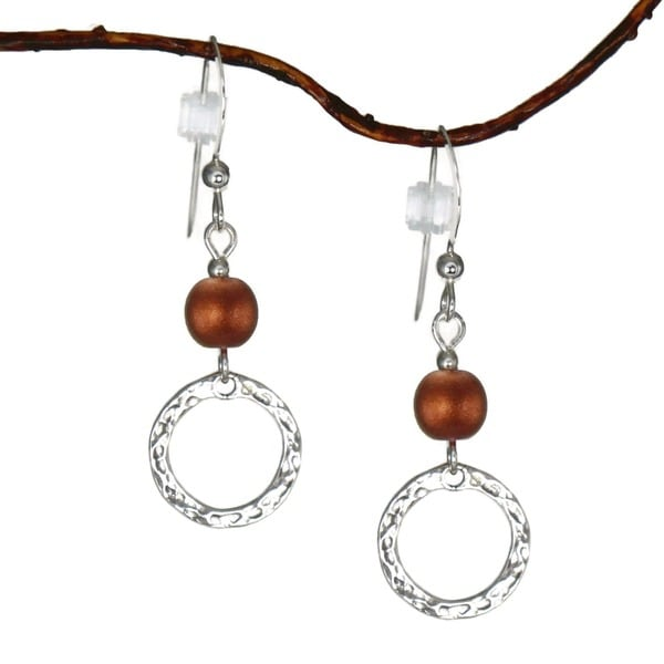 Jewelry by Dawn Copper With Hammered Circle Sterling Silver Earrings