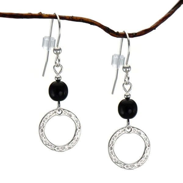Jewelry by Dawn Black With Hammered Circle Sterling Silver Earrings