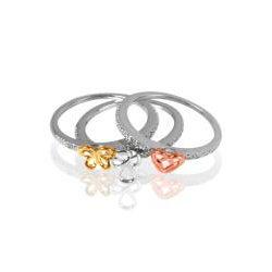 Bridal Symphony 10k Gold Diamond Stackable 3-Piece Ring Set (Heart,Cross,Butterfly)