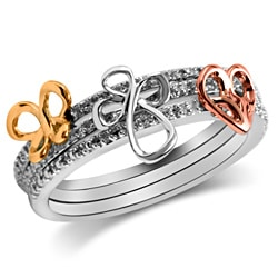 Bridal Symphony 10k Gold Diamond Stackable 3-Piece Ring Set (Heart,Cross,Butterfly)