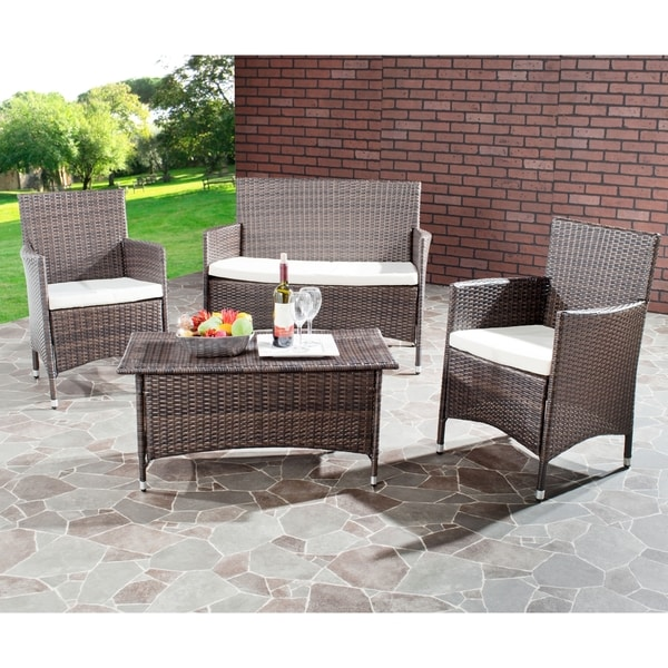 Shop Safavieh Outdoor Living Cushioned Brown 4 Piece Patio