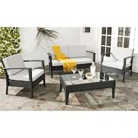 Safavieh Outdoor Living Cushioned Brown Glass Top 4-piece Patio Set