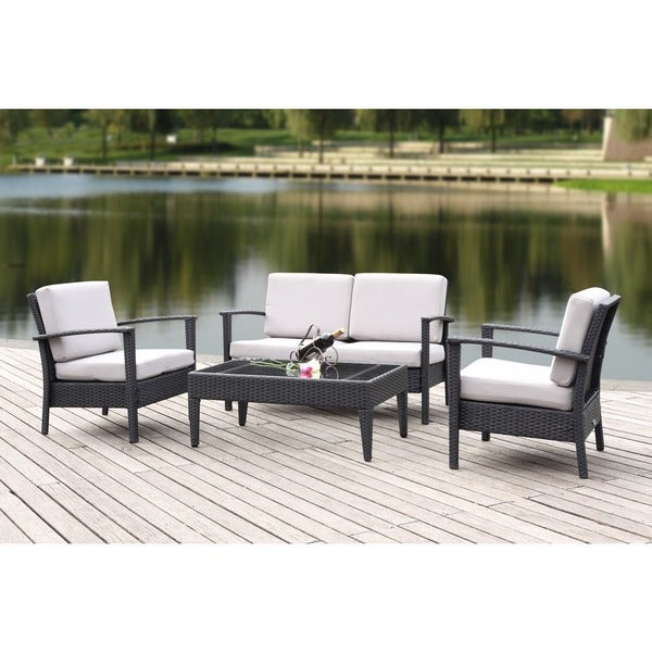 Safavieh Outdoor Living Cushioned Brown Glass Top 4-piece Patio Set - Safavieh Outdoor Living Cushioned Brown Glass Top 4-piece Patio