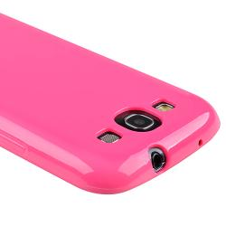 INSTEN Hot Pink Jelly TPU Rubber Skin Phone Case Cover for Samsung Galaxy S III i9300 - Thumbnail 2