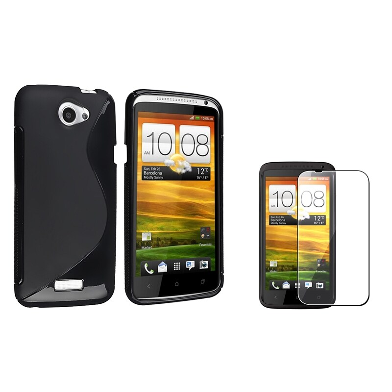 Black TPU Case/ Screen Protector for HTC One X