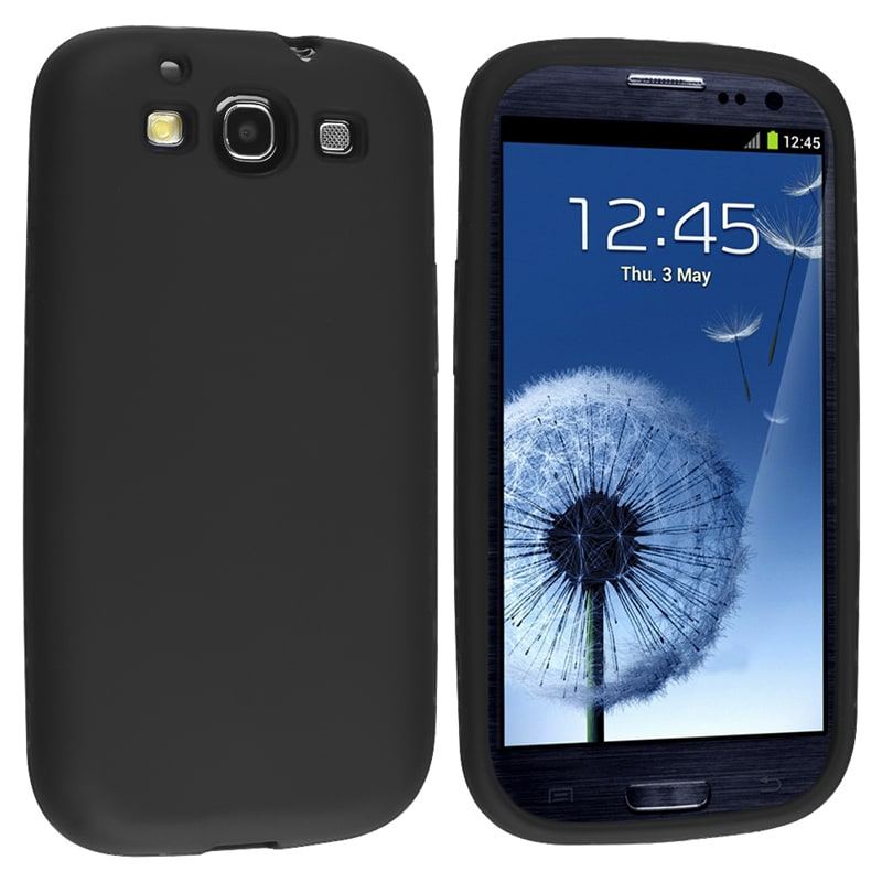 INSTEN Black Soft Silicone Skin Phone Case Cover for Samsung Galaxy S III i9300