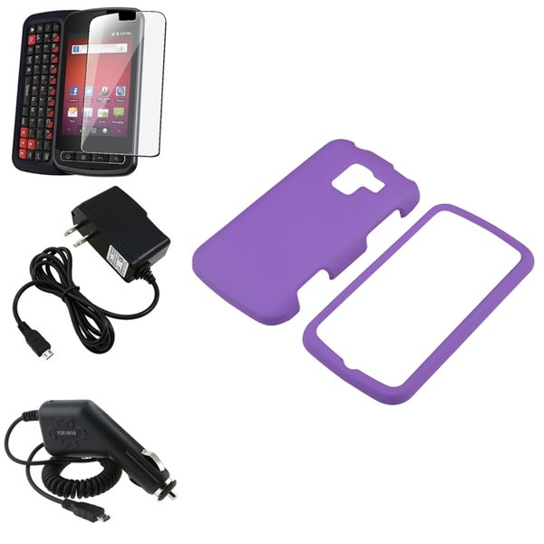 Purple Case/ Screen Protector/ Chargers for LG Optimus Slider LS700