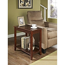 Espresso Trapeziod Wooden Chair Side End Table