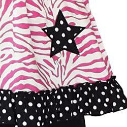 AnnLoren Pink Zebra and Stars Two-piece 100-percent Cotton Outfit - Thumbnail 1