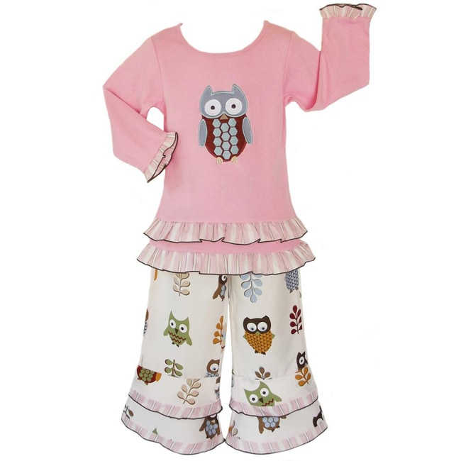 AnnLoren Girls 2 piece Adorable Owls Outfit - Thumbnail 0