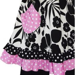 AnnLoren 2 piece Girls Black and White Floral and Pink Polka dots Outfit - Thumbnail 1