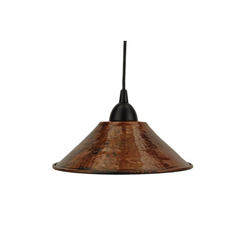 Premier Copper Products Hand-hammered Copper Nine-inch Cone Pendant Indoor Light Fixture , Handmade in Mexico