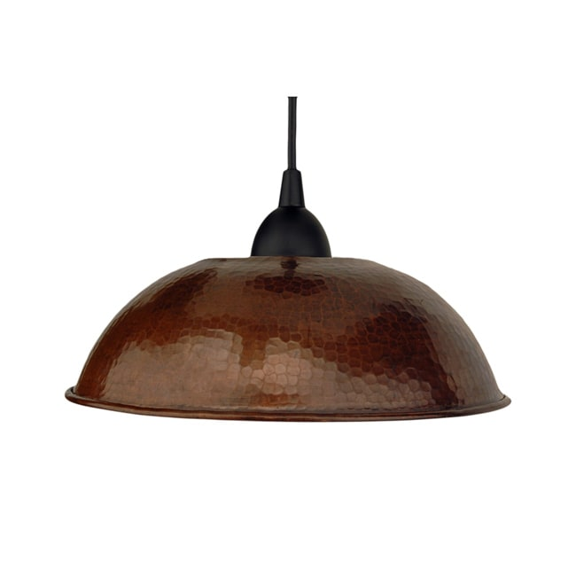 Premier Copper Products Hand Hammered Copper 10.5-Inch Dome Pendant Light (Mexico)