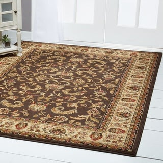 "Home Dynamix Royalty Collection Traditional Brown-Ivory Area Rug (7'8"" x 10'4"") - 7'8""x10'4"""