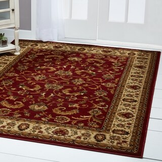 Home Dynamix Royalty Collection Red-Ivory Heat-Set Machine Made Polypropylene Area Rug - 5'2 x 7'2