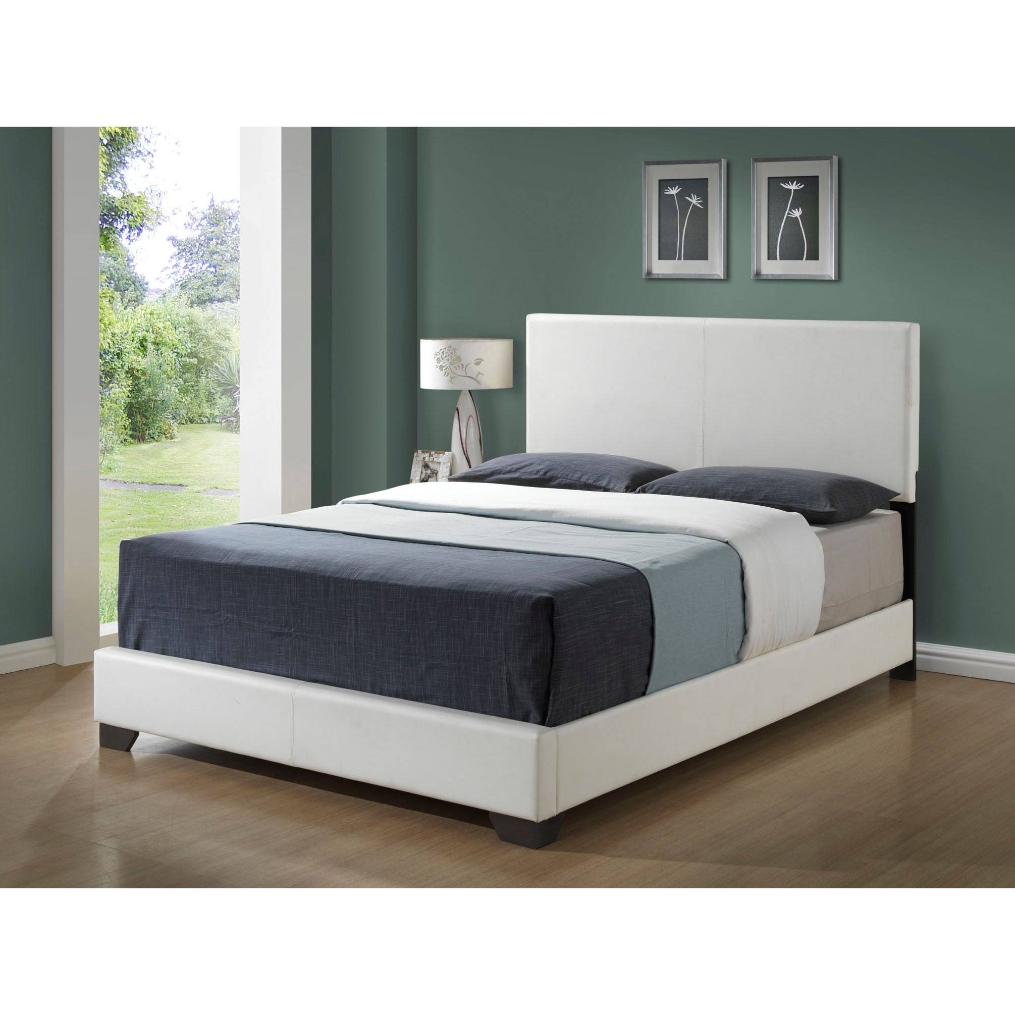 white leather look queen size bed