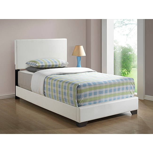 White Leather-look Twin Size Bed - Thumbnail 0