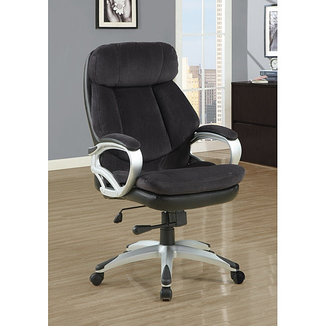 Dark Charcoal Grey Velvet Executive Office Chair