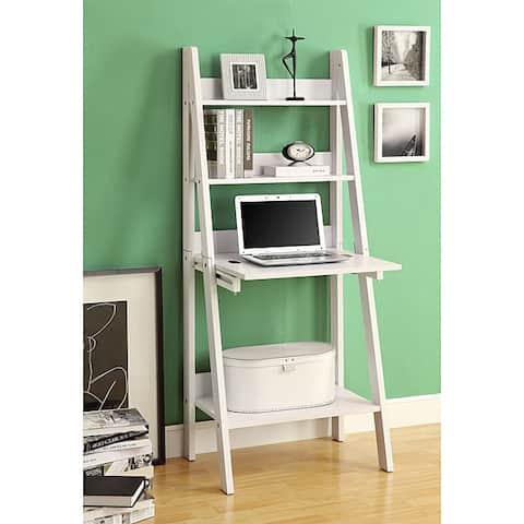 White 61-inch Ladder Bookcase Drop-down Desk