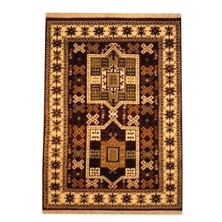 Herat Oriental Indo Hand-knotted Heriz Wool Rug (4' x 5'7)