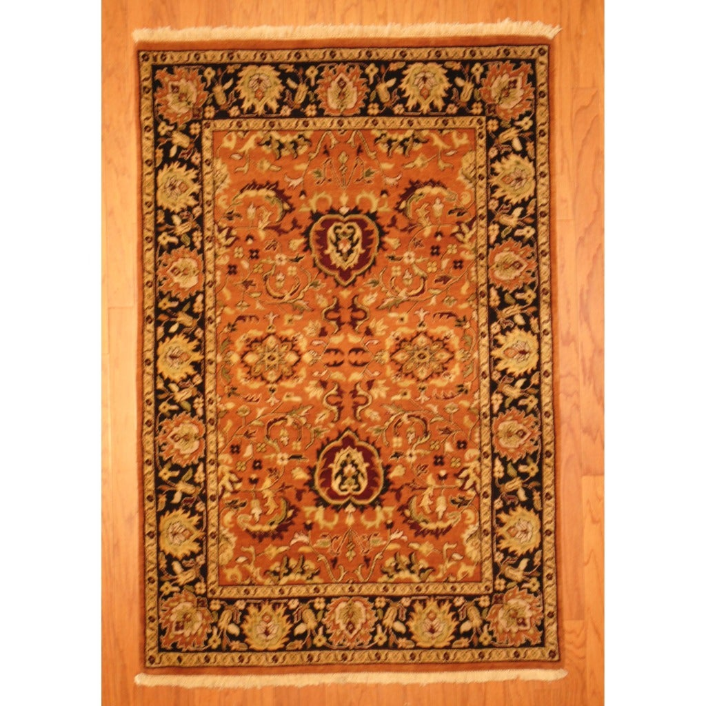 Indo Hand-knotted Mahal Rust/ Black Wool Rug (4' x 6')