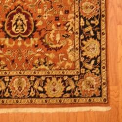 Indo Hand-knotted Mahal Rust/ Black Wool Rug (4' x 6') - Thumbnail 2