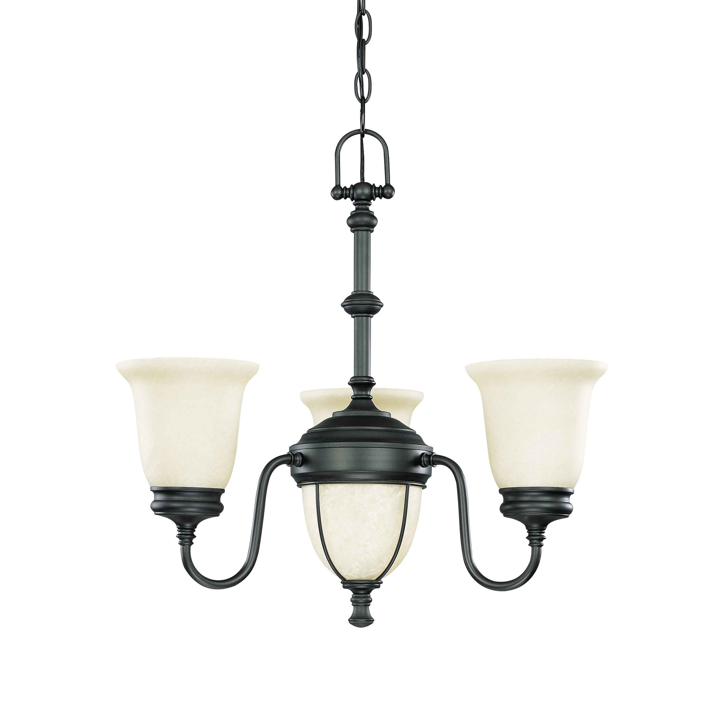 Salem 3 Light Chandelier Aged Bronze with Biscotti Glass - Thumbnail 0