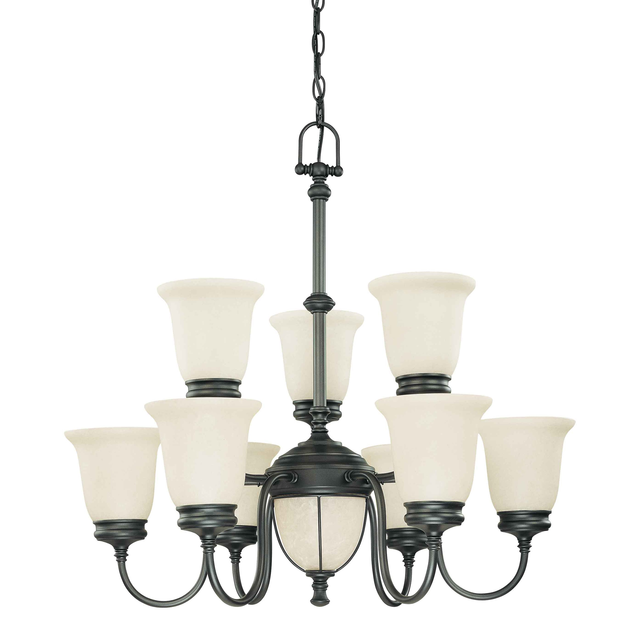 Salem 7 + 2 Light Aged Bronze With Biscotti Glass Chandelier - Thumbnail 0