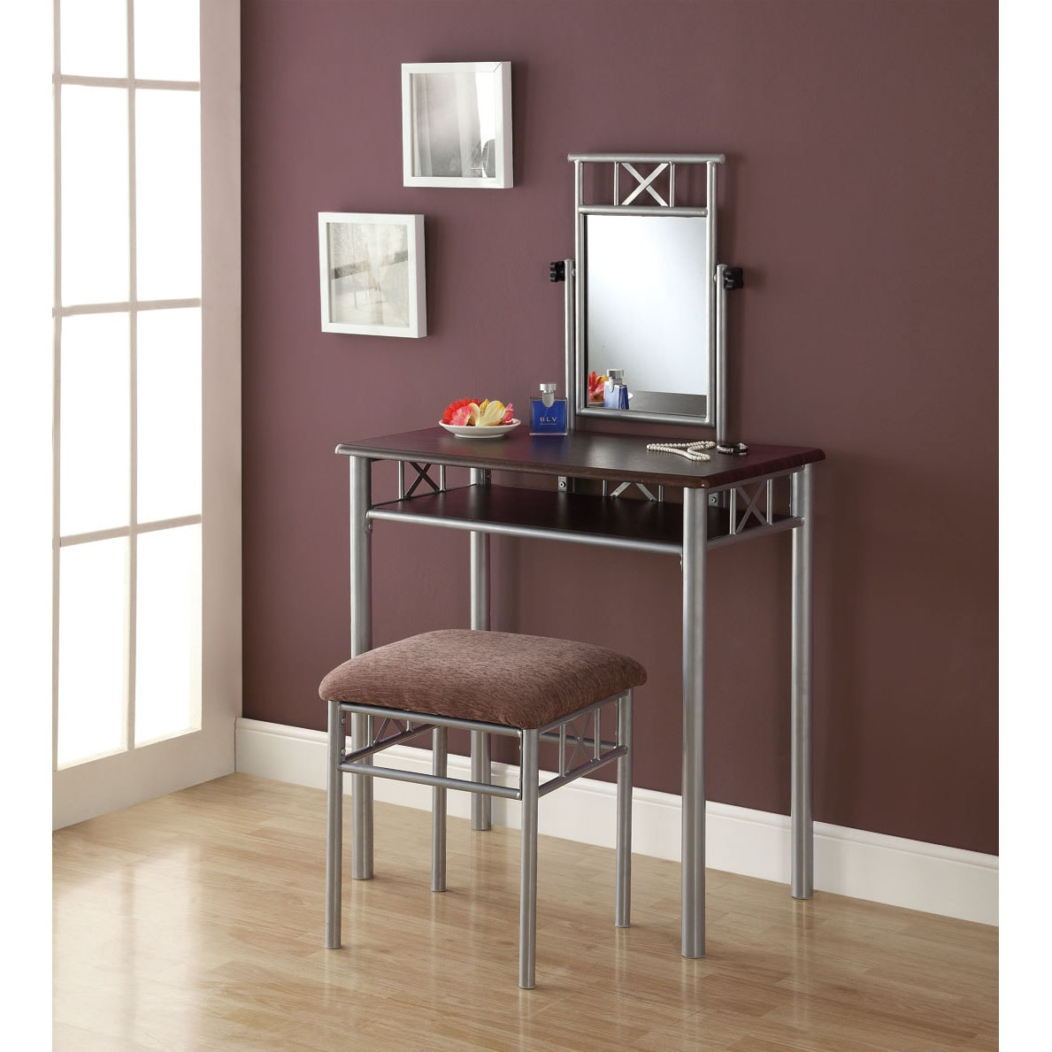 Cappuccino And Silver Metal Vanity Table And Stool Set
