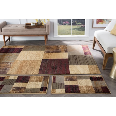 Alise Rugs Rhythm Contemporary Geometric Three Piece Set - 1'8 x 2'8/5' x 7'