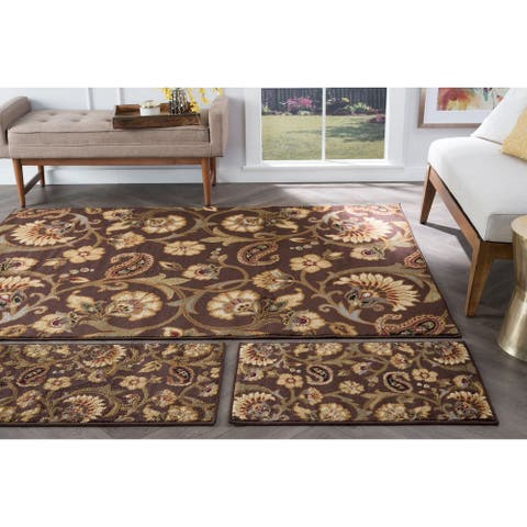 Alise Rugs Rhythm Transitional Floral Three Piece Set - 1'8 x 2'8/5' x 7'