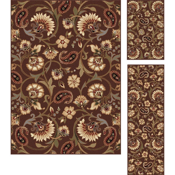 Alise Rhythm Brown Area Rug (Set of 3)